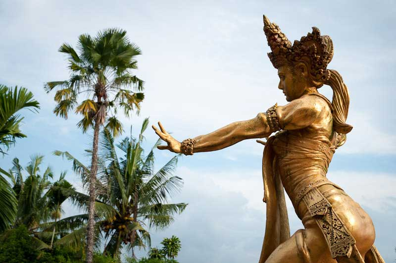 Balinese dancer statue atop the Antonio Blanco Museum